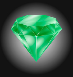 realistic green round gem - emerald vector image
