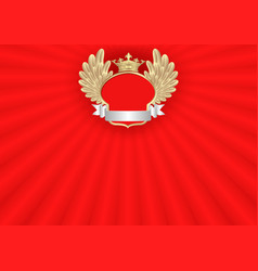 Red background with golden frame and crown vector