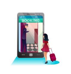 Reservation hotel online flat vector