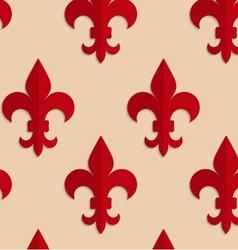 Retro fold red Fleur-de-lis vector