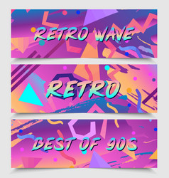 retro futurism flyer set futuristic synth vector image