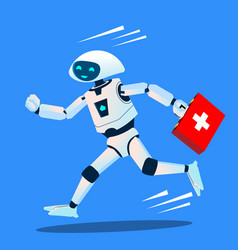 robot runs with a medical kit ambulance vector image