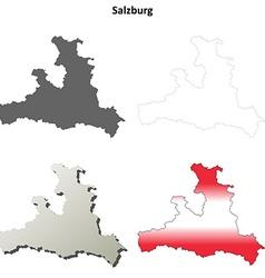 Salzburg blank detailed outline map set vector