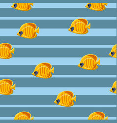 seamless pattern with yellow tropical sea fishes vector image