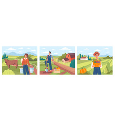 set banners with farmers vector image