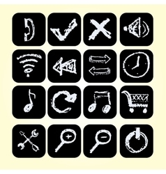 Set icons drawn chalks style vector image