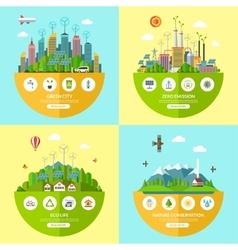 Set of ecology in flat style vector