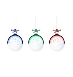 set paper cut christmas ball in face mask vector image