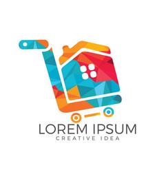 Shopping cart with house logo design vector