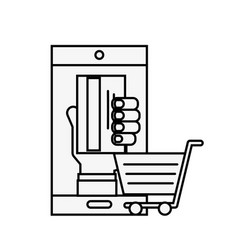 smartphone hand with credit card cart online vector image