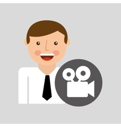 Social media man film movie concept vector