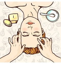 Spa woman waiting spa massage her face vector