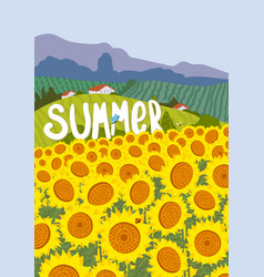summer nuture landscape sunflowers yellow floral vector image