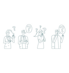 thinking people man woman finding solution vector image
