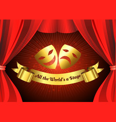 two golden mask on red curtain theater stage vector image