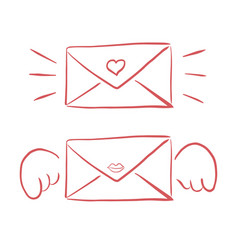 valentines day envelope hand drawing cards vector image