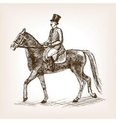 Vintage gentleman on horse sketch style vector
