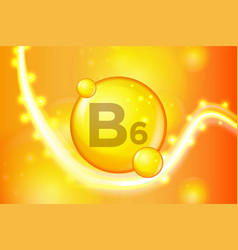 vitamin b6 gold shining pill capsule icon vector image
