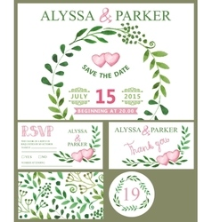 Wedding invitation cardWatercolor green branches vector