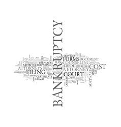 what will it cost to file bankruptcy text word vector image