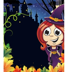 Witch girl near the castle vector image