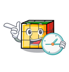 With clock rubik cube character cartoon vector