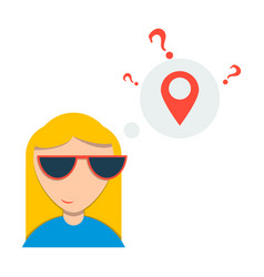 Woman is standing close to big map pointer our vector