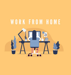 Work from home concept graphic design workspace vector