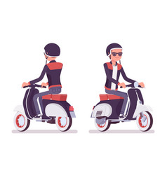 Young man riding a scooter vector