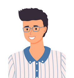 Young pretty guy smiling wears glasses male vector