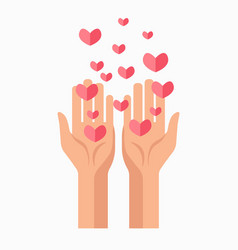 charity hands and hearts blood donation vector image vector image