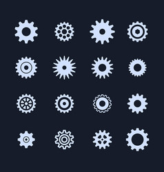 cogs symbol set on white background settings icon vector image