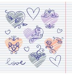 Hand-drawn love doodles in sketchbook vector image vector image