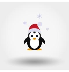 Penguin in a Santa Claus hat vector image