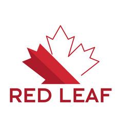 Red maple leaf logo design vector