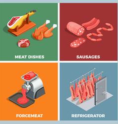 butcher shop isometric concept vector image vector image