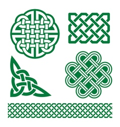 Celtic green knots braids and patterns - St Patri vector image