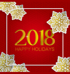 christmas and new year gold snow greeting card vector image