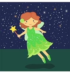 Cute Little Green Fairy vector image vector image