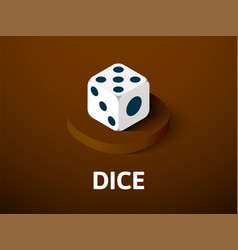 dice isometric icon isolated on color background vector image vector image