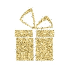 Icon of gift box with gold sparkles and glitter vector