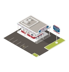 Roadside american diner isometric icons set vector image
