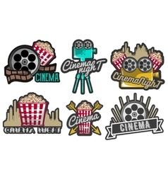 set cinema labels and logos Isolated vector image vector image