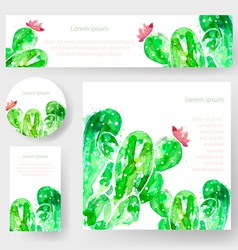 Set of watercolor cactus tags and banners vector image vector image