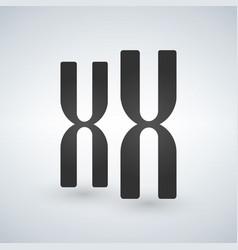 xx chromosomes icon style is flat symbol grey vector image