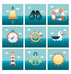 Marine flat icons set vector image vector image