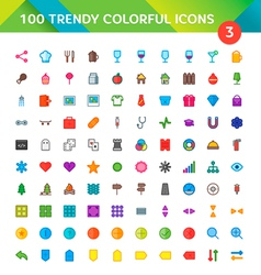 100 Universal Icons Set 3 vector image vector image