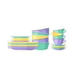 Clean dishes empty dishware kitchen utensil vector image