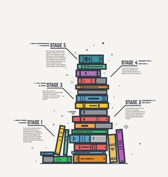 Color book pile line infographics vector image