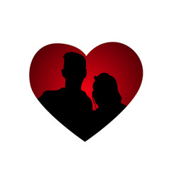couple silhouettes in heart shape icon isolated vector image vector image
